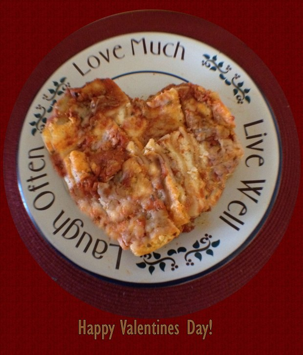 Lasanga Heart shape on plate