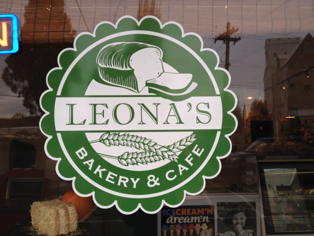 Leona's Bakery sign in St. Paul, Oregon